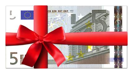 5 Euro Schein mit roter Schleife