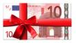 Leinwanddruck Bild - 10 Euro Schein mit roter Schleife