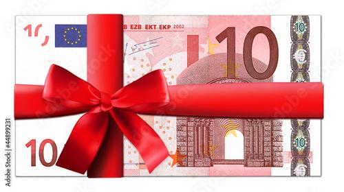 Leinwanddruck Bild 10 Euro Schein mit roter Schleife