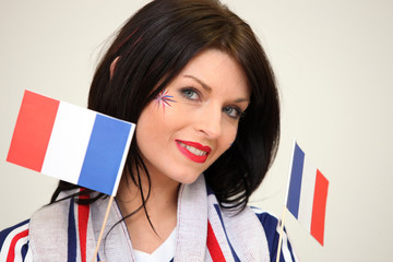 Woman waving the French flag