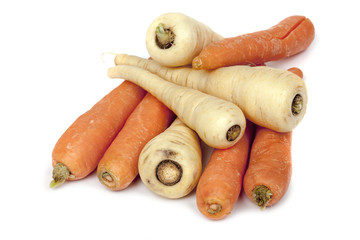 Carrots and Parsnips Isolated