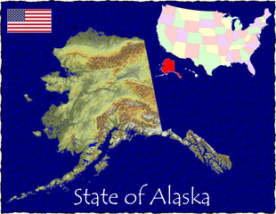 USA state Alaska enlarged map flag background
