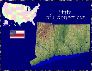 USA state Connecticut enlarged map flag background