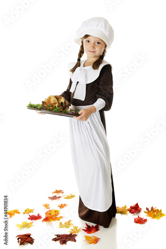 Pilgrim Serving Thanksgiving Dinner