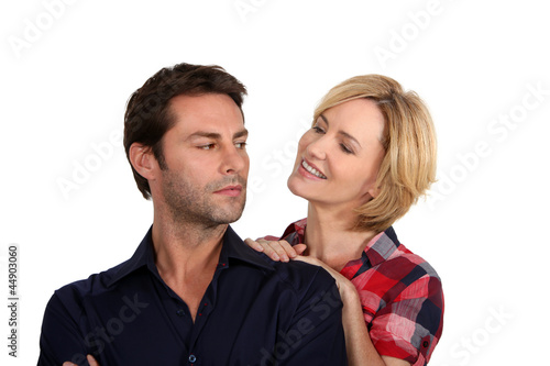 Woman trying to persuade her husband