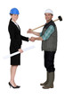 Businesswoman shaking the hand of a tradesman