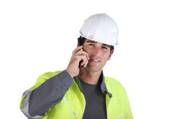 Foreman with a phone