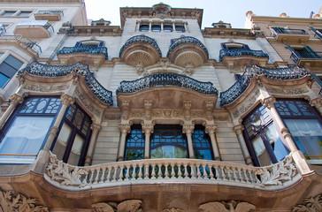 Facade of the building on Passeig de Gràcia. Barcelona.