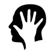 Head with hand