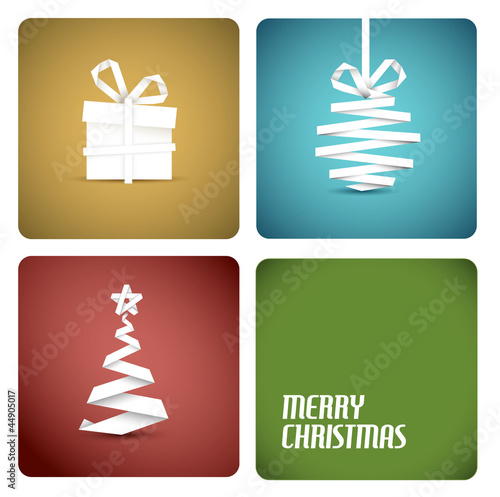 Vector christmas decoration made from white paper stripes