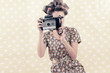 Retro Woman with 4x6 Camera