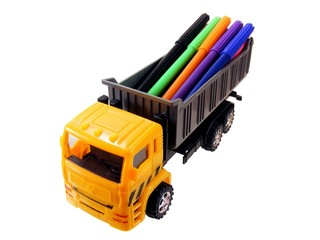 Lorry with Pens on a White Background