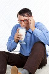 Man holding Glass of Milk