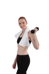 young slender sportive woman lifting dumbbell