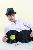 Retro Male with Vinyl Record