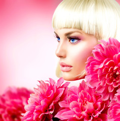 Fashion Blond Girl with Big Pink Flowers