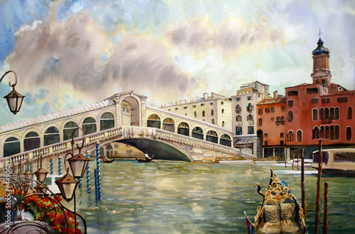 A view of the canal with Rialto bridge, Venice - 44906852