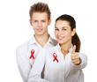 Couple using red for AIDS, isolated on white background
