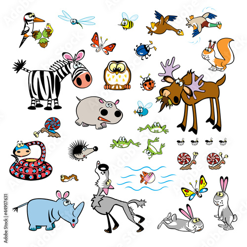 Spoed canvasdoek 2cm dik Bosdieren vector set of childish wild animals