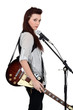 Woman with guitar and microphone