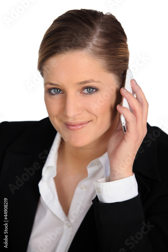 a female employee at phone