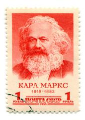 Stamp printed in Soviet Union  of Karl Marx