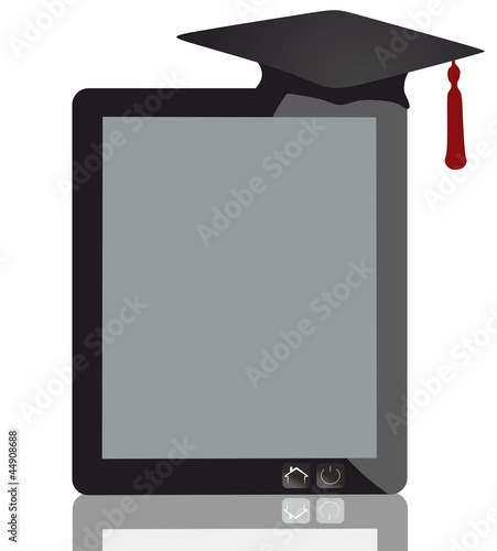Graduation Hat and Tablet Isolated