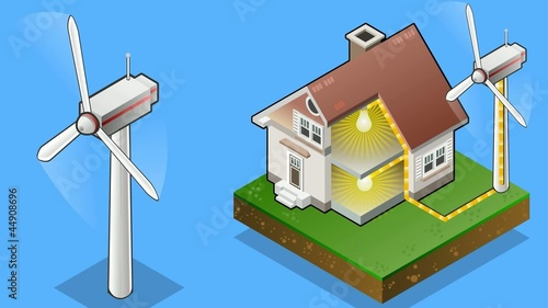 Isometric house with wind turbine