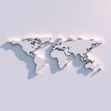 Carte du relief du monde sur le mur
