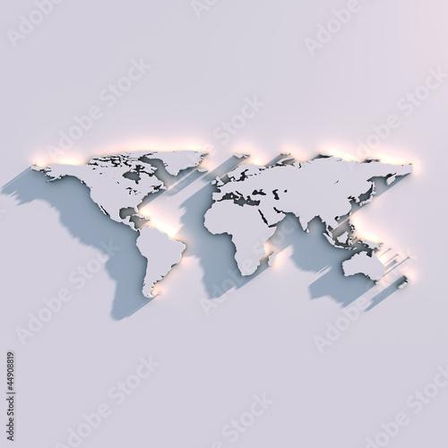Spoed canvasdoek 2cm dik Wereldkaart Weltkarte Relief auf der Wand