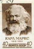 Stamp printed in Soviet Union  of Karl Marx