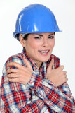 Scared female builder