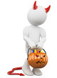 3D halloween white people. Child dressed as devil with a pumpkin