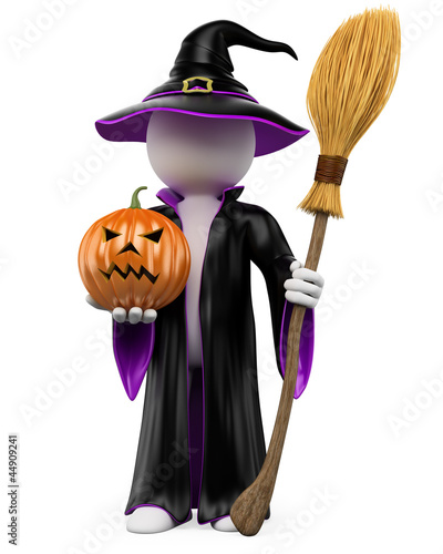 3D halloween white people. Witch with a pumpkin and a flying bro