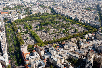 Paris, panoramic view on Montparnasse Cemetery