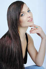 Beautiful girl brunette with long hair