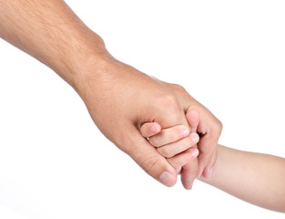 Child hold the hand of father