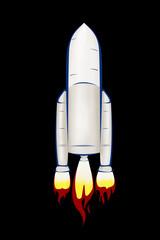 Rocket ship illustration on black background