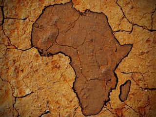 Africa shape on dry soil