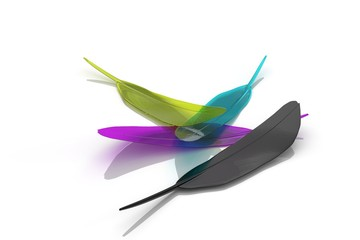 CMYK quills on white background