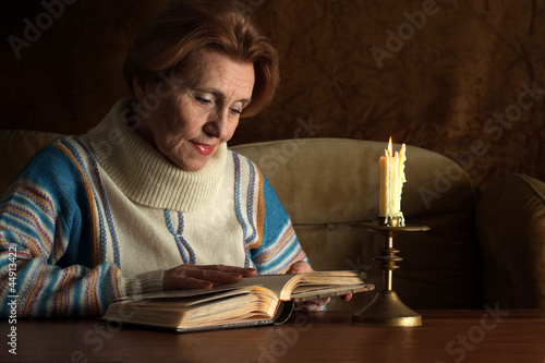 Good Caucasian aged woman sitting