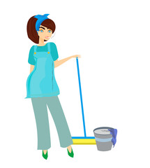 cartoon character housemaid with broom vector illustration, isol
