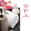 Spa setting with pink lily