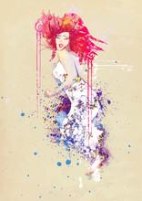 Frau im Sommerkleid (Zeichnung)