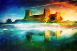 Old castle painting, magical sunset