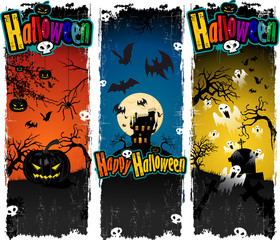 Banners Halloween pumpkin ghost castle