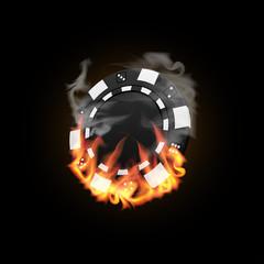 Casino Chip in Fire vector illustration
