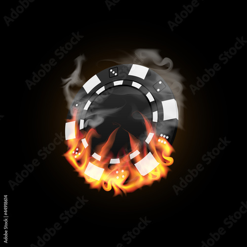 Casino Chip in Fire vector illustration