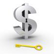 Dollar symbol with keyhole and dollar-key on the ground