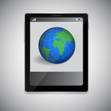 Tablet PC with planet on screen